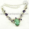 Atractivo de diseñador de joyas de plata/turquesa,& amatista piedras preciosas perlas de collar de plata