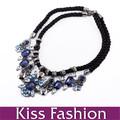 2014 Moda Flores Azules Con ámbar dentición Cuerda Collar llamativo collar
