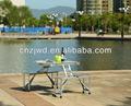 Al aire libre de aluminio plegable mesa de camping y juego de sillas, mesa de picnic