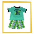 verde 2014 camisetas con la imagen del mono con tela a cuadros pantalones cortos para niños