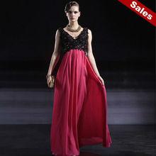 Rosa con cuello en V sin mangas vestido de gala Coniefox 56632