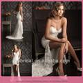 cariño dl667 cuello de encaje detalle del piso de longitud corta sexy vestidos de novia