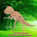 Madera 3d puzzles/rompecabezas dinosaurio, t-rex