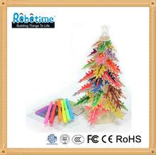led de rompecabezas de madera del árbol de navidad de juguete
