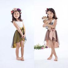 Guangdong foshan de nuevo estilo de la moda de verano vestido de las niñas, prendas de vestir de las niñas,