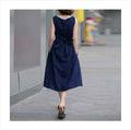 2014 verano sin mangas cinturón lino Gran patio vestido DR-M14071021