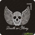 Muerte o Gloria Alas y cráneo Transfer Rhinestone
