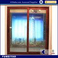 grano de madera de aluminio puerta corredera de cristal