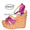 sandalias de moda de la sandalia / zapatos de la señora del talón de cuña