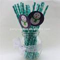 decoraciones de navidad muñeco de nieve al por mayor de navidad potable pajitas de papel con las etiquetas