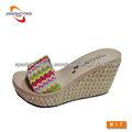 Cuerda de colores tejida dama moda sandalia de plataforma