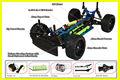 1/16th rc modelo de auto, de metal 2.4 ghz del coche del rc modelo, mando a distancia de coche cepillado
