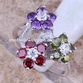 coreano atacado jewelryflower cz anel cores encantadoras em anéis de flores