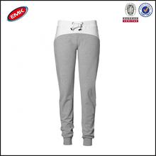 100% de algodón de alta calidad de color combinación de lazo de la mujer pantalones de deporte