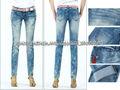jean de mezclilla fábrica de señora de alta calidad skinny jeans pantalones de lápiz con cierre de cremallera de la decoración