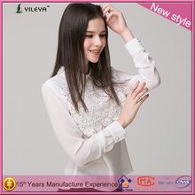 moda las mujeres ropa delgado cuello de peter pan blanco de encaje de ganchillo más el tamaño de los últimos diseños de la blusa