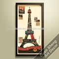 Pintura mural de la arquitectura conocida de Paris, la torre Eiffel