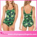 venta al por mayor nuevo hojas de color verde en todo sin mangas mameluco speedo chicas sexy bikini traje de baño
