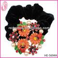 Venta de flores accesorios para el cabello pelo de las muchachas del arco del sostenedor del Ponytail del lazo del pelo caliente