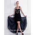 negro frente a corto y largo de nuevo vestido de baile con cuentas