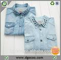 2014 nuevo diseño de manga larga camisa de mezclilla para las niñas y las mujeres de color tachonado camisas de mezclilla