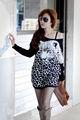 Sueltas 2014 coreano estilo casual blusa de las manga murciélago animal print tapas de punto t- shirt G0413
