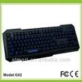 doble color impermeable del led de luz de fondo para juegos con conexión de cable del teclado teclado de la computadora