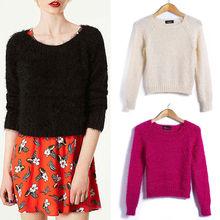 primavera de la moda otoño manga larga lindo de géneros de punto sólido, slim pluma de punto hilados 6665 suéter