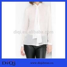 diseño de moda elegante de seda de punto de partido de gasa transparente blusa de las señoras