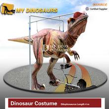 Caminar traje de dinosaurio marionetas robóticas dinosaurio para el partido