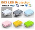 El hogar digital led mini proyector de vídeo con resolución 480*320p e03