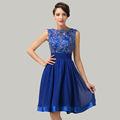 La robe de mariée la plus belle mi-longues grâce Karin Nouveau design Robes de soirée en dentelle bleue CL6132
