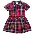 los niños del cuello de polo de moda las niñas jóvenes vestido a cuadros con un cinturón casual de algodón vestido de las niñas