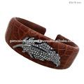 De la hoja del brazalete pulsera para las niñas, 925 pulseras de plata esterlina, brazalete de diamantes, indio joyería de moda