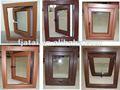 Good quality UPVC woodgrain laminated film single hung open out casement windows