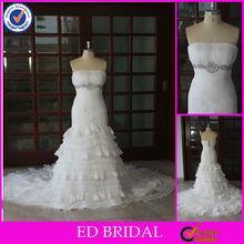 Delicado de cuentas modificado una línea acodada organza vestido de encaje de la boda del diseñador del ajuste
