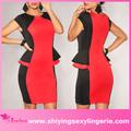 Clásico negro al por mayor de color rojo- bloque peplum lados coreano de la rodilla longitud vestidos baratos