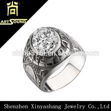 de acero inoxidable con circones vintage hombres anillo de venta al por mayor