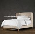 Clásico antiguo de estilo europeo de madera maciza cama doble con cabecera ala mpac- 035
