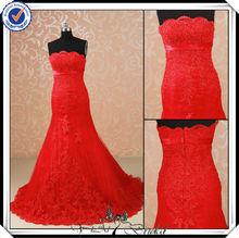 jj2989 sirena con cuentas de encaje rojo de invierno de la boda vestidos de rojo