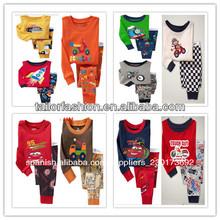 2014 nuevo estilo manga larga 100% algodón la costilla de punto a bebé niños de chica dormir pijamas ropa de noche de desgaste