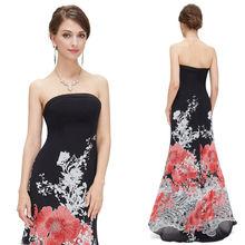 elegante vestido strapless de cola de pescado impreso largo de noche vestido de fiesta he08402rd