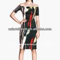 De la mujer fuera- hombro de impresión sexy mini vestido( ntf03056)