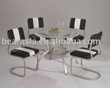 metal vidro temperado mobília da sala de jantar conjunto