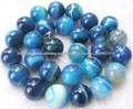 Ágata azul semi naturales piedras preciosas redondas 8mm