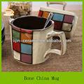 Nuevo real bone china taza de café único diseños, pintado a mano taza 13oz