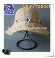 plegable de paja de verano damas sombrero de playa para decorar