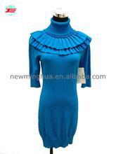2015 12gg chandail tricoté de mode de dame sexy robe à manches courtes pull col haut élastique