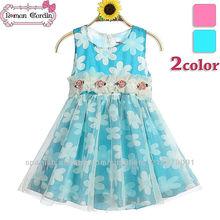 coreano azul vestido de flores para las niñas vestido de algodón liso