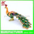 Yiwu qifu belleza hecha a mano baratijas de metal caja de joyería peaock( qf3235-- 003)